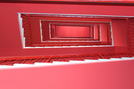 EyemEm Architecture pictures Wall Art as Canvas, Acrylic or Metal Print Directly Below View Of Red Staircase