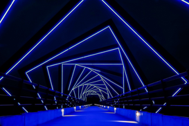 Bestseller z.B als Leinwandbild oder Wandbild hinter Acrylglas: Futuristic Bridge With Blue Light Pattern