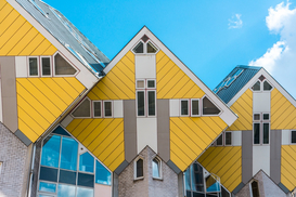 EyemEm Architecture pictures Wall Art as Canvas, Acrylic or Metal Print Low Angle View Of Cube Houses Against Sky