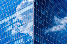 EyemEm Architektur Bilder z.B als Leinwandbild oder Wandbild hinter Acrylglas: Reflection Of Clouds On Modern Office Building
