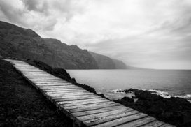 Editor′s Choice Pictures Wall Art as Canvas, Acrylic or Metal Print Boardwalk By Sea Against Cloudy Sky