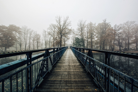 EyeEm pictures Wall Art as Canvas, Acrylic or Metal Print Bridge Over River Leading Towards Bare Trees Against Clear Sky