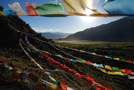 EyeEm Landscape pictures Wall Art as Canvas, Acrylic or Metal Print Colorful Prayer Flags Hanging Over Mountains