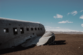 EyeEm Landscape pictures Wall Art as Canvas, Acrylic or Metal Print Damaged Airplane On Field Against Sky