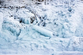EyeEm pictures Wall Art as Canvas, Acrylic or Metal Print High Angle View Of Frozen Steps During Winter