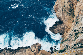 EyeEm pictures Wall Art as Canvas, Acrylic or Metal Print High Angle View Of Waves Splashing Rocks At Sea