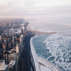 Foto: Steden - Aerial View Of Cityscape By Frozen Sea