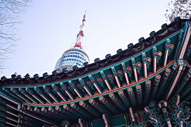EyeEm Bilder z.B als Leinwandbild oder Wandbild hinter Acrylglas: Low Angle View Of Namsan Tower Against Clear Sky