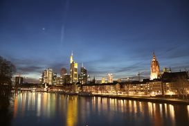 EyeEm City pictures Wall Art as Canvas, Acrylic or Metal Print River By Illuminated Commerzbank Tower And City Against Sky At Night