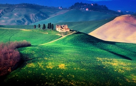 Pictures of Europe & the Alps  Wall Art as Canvas, Acrylic or Metal Print LANDSCAPE OF TUSCANY NEAR SIENA ITALY