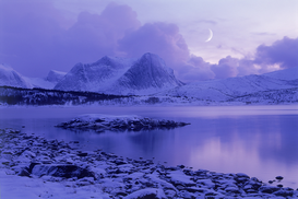 Landscape pictures Wall Art as Canvas, Acrylic or Metal Print norway. mountains on efjord near skarstad in northern norway in winter under moon.