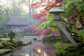 Spring pictures Wall Art as Canvas, Acrylic or Metal Print Stone lantern in Japanese garden