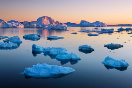 World travel pictures Wall Art as Canvas, Acrylic or Metal Print Icebergs in Disko Bay
