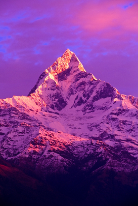Reis om de wereld Foto's bijv. als canvasfoto of wandfoto achter acrylglas: View of Machhapuchhare at sunrise from Sarangkot, Annapurna region, Nepal