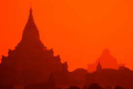 Sunset pictures Wall Art as Canvas, Acrylic or Metal Print Gawdawpalin Temple