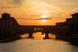 Sunset pictures Wall Art as Canvas, Acrylic or Metal Print Ponte vecchio in florence at sunset