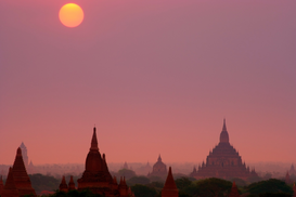 Sunset pictures Wall Art as Canvas, Acrylic or Metal Print Temples of Bagan at sunrise in Bagan, Myanmar, Burma