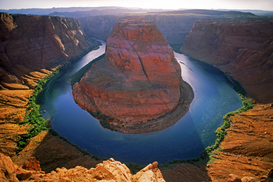 Landscape pictures Wall Art as Canvas, Acrylic or Metal Print Above Horseshoe Bend on Colorado River  near Glen Canyon Dam and Page, Arizona