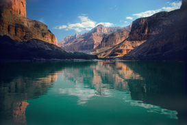 Canadian & American Landscapes Wall Art as Canvas, Acrylic or Metal Print Grand Canyon Dory floating down Colorado River above President Harding Rapids between canyon walls