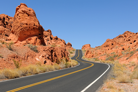 "Landscape pictures Wall Art as Canvas, Acrylic or Metal Print Strasse durch das "" Valley of Fire"", nahe Las Vegas, Nevada, Suedwesten USA"