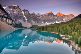 Landscape pictures Wall Art as Canvas, Acrylic or Metal Print Sunrise at Moraine Lake in the Valley of the Ten Peaks...