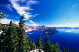 Landschappen Foto's bijv. als canvasfoto of wandfoto achter acrylglas: Wizard Island at Crater Lake National Park
