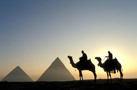 Landscape pictures Wall Art as Canvas, Acrylic or Metal Print egypt, giza. pyramids and camels at sunset