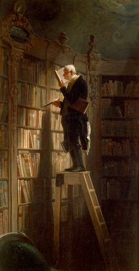 Bestselling Pictures Wall Art as Canvas, Acrylic or Metal Print C.Spitzweg, Der Bücherwurm