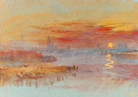 Friedrich & de Romantiek Foto's bijv. als canvasfoto of wandfoto achter acrylglas: Sunset on Rouen