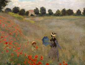 Monet & Impressionist pictures Wall Art as Canvas, Acrylic or Metal Print C.Monet, Mohnfeld bei Argenteuil / Det.