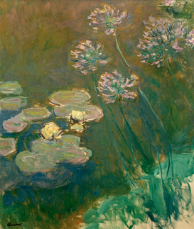 Monet & Impressionist pictures Wall Art as Canvas, Acrylic or Metal Print C.Monet, Seerosen und Agapanthus