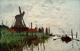 Monet & Impressionist pictures Wall Art as Canvas, Acrylic or Metal Print C.Monet, Windmühle in Zaandam