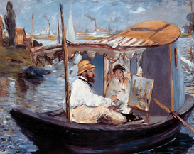 New Pictures Wall Art as Canvas, Acrylic or Metal Print E.Manet, Die Barke (Claude Monet..)