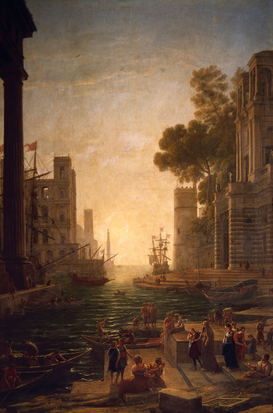 Rembrandt & Baroque pictures Wall Art as Canvas, Acrylic or Metal Print Claude le Lorrain, Hafen mit Hl.Paula