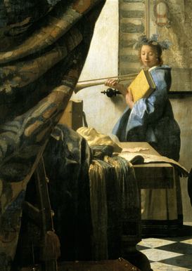 Rembrandt & Baroque pictures Wall Art as Canvas, Acrylic or Metal Print Vermeer, Die Malkunst, Detail