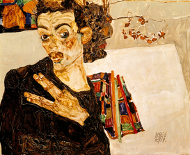 Van Gogh & Modernism pictures Wall Art as Canvas, Acrylic or Metal Print Egon Schiele, Selbstbildnis 1911