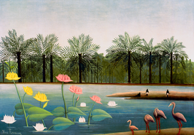 Bestselling Pictures Wall Art as Canvas, Acrylic or Metal Print H.Rousseau, Die Flamingos