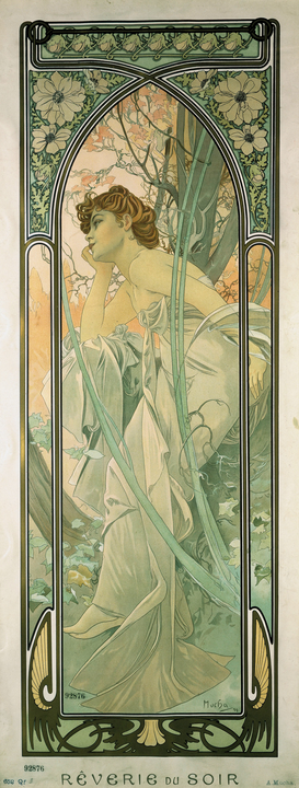 Van Gogh & Modernism pictures Wall Art as Canvas, Acrylic or Metal Print Mucha, Reverie du Soir