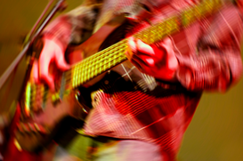 Staged photography Wall Art as Canvas, Acrylic or Metal Print Bass guitar player