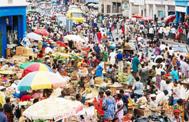 People of the world pictures Wall Art as Canvas, Acrylic or Metal Print Crowded Makola Market in central Accra.  Accra, Greater Accra, Ghana