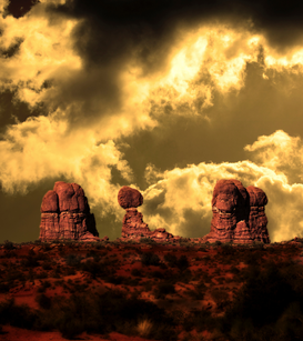 Foto: EE.UU. y Canadá - USA, Utah, Arches National Park, Garden of Eden and Balanced rock, Digital gearbeitet