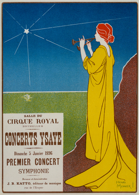 Vintage Illustration Wall Art as Canvas, Acrylic or Metal Print E.Ysaye, Concerts Ysaye / Plakat 1896
