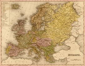 Antique Map Posters Wall Art as Canvas, Acrylic or Metal Print MAPS - Europe
