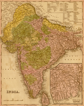 Antique Map Posters Wall Art as Canvas, Acrylic or Metal Print MAPS - India