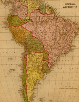 Vintage Art Pictures Wall Art as Canvas, Acrylic or Metal Print MAPS - South America