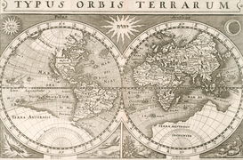 Antique Map Posters Wall Art as Canvas, Acrylic or Metal Print Weltkarte / Merian 1630
