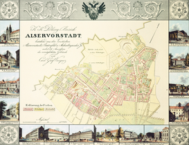 Antique Map Posters Wall Art as Canvas, Acrylic or Metal Print Wiener Bezirke: Josefstadt und Alsergrund