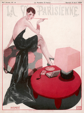 Vintage Ads Wall Art as Canvas, Acrylic or Metal Print FLAPPER SMOKES A CIGGIE