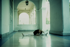 Atletiek & beweging Foto's bijv. als canvasfoto of wandfoto achter acrylglas: A dancer stretching in the hallway of the Cuban National Ballet School, Havana, Cuba.