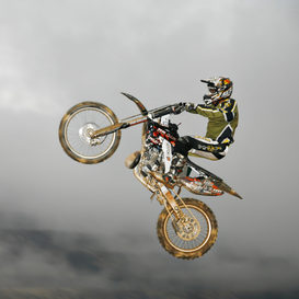 Extreme sports pictures Wall Art as Canvas, Acrylic or Metal Print Motocrossfahrer beim Sprung - Motocross driver